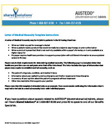 Letter of Medical Necessity Template: Establish medical necessity for treatment with AUSTEDO® (deutetrabenazine) tablets.